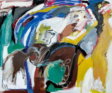 Ziege unter blauer Palme. 2005 - CWR 6537