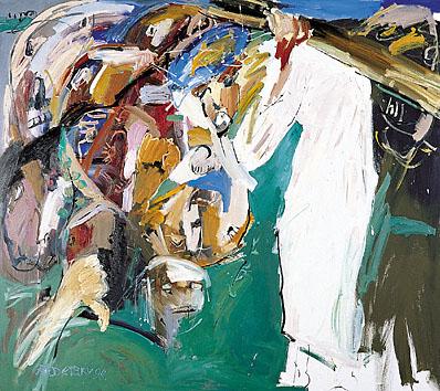 II. Station - Jesus wird mit dem Kreuz beladen - DIE BLAUE KRONE. 1998-99