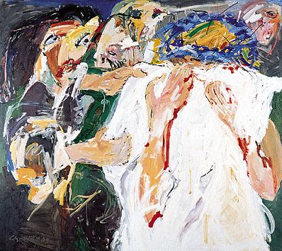 VI. Station - Veronika reicht Jesus ihr Schweißtuch - DIE BLAUE KRONE. 1998-99